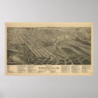 Winston-Salem N. Carolina Antique Panoramic Map Poster