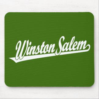 Winston-Salem script logo in white Mouse Pad