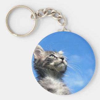 Winston the Tabby Aviator Cat Basic Round Button Key Ring