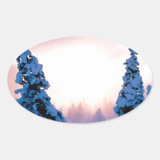 Winter A New Season Awaits Oval Sticker