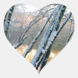 Winter Alder Trees Merced River Yosemite Heart Sticker