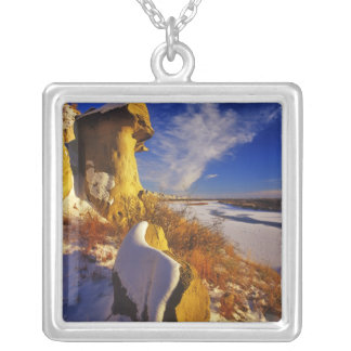 Winter along the Missouri River near Silver Plated Necklace