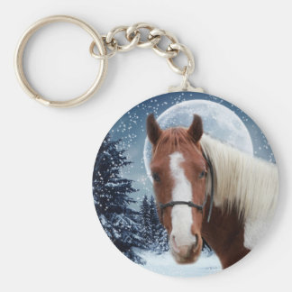 Winter American Paint Horse Basic Round Button Key Ring