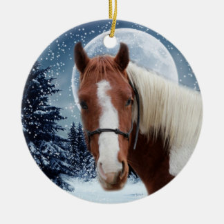 Winter American Paint Horse Christmas Ornament