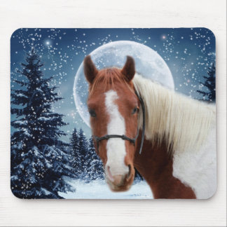 Winter American Paint Horse Mouse Pad