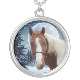 Winter American Paint Horse Round Pendant Necklace