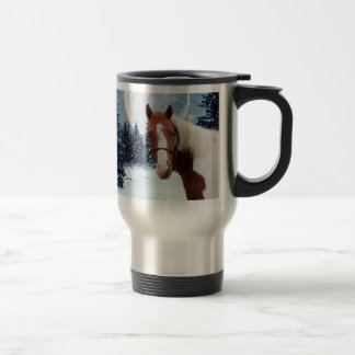 Winter American Paint Horse Travel Mug