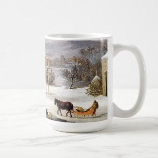 Winter Americana Horses Sleigh Town Oxen Mug