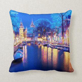 Winter Amsterdam Canal At Night With Boats Cushion