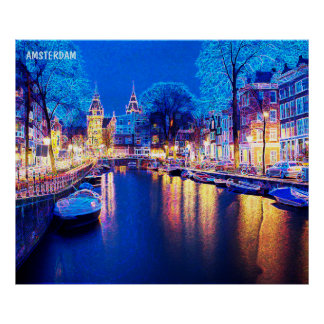 Winter Amsterdam Canal At Night With Boats Poster