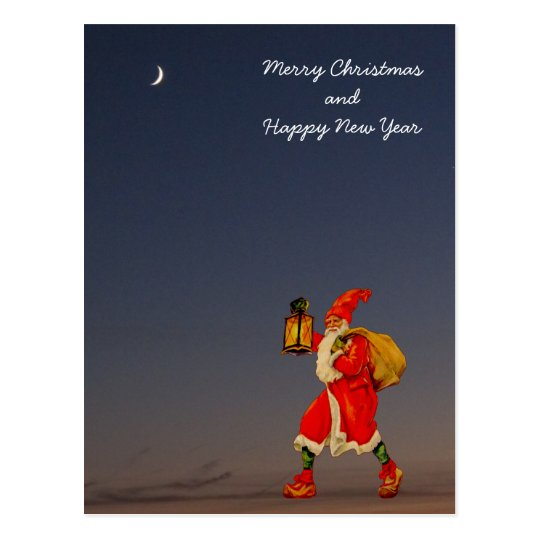Winter and silence - Santa walking in the darkness Postcard