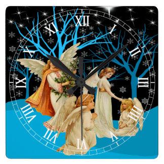 Winter Angels Square Roman Numerals Clock