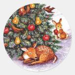 winter animals feast round stickers