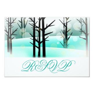Winter Aqua Woodland Trees Wedding RSVP Cards