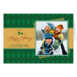 Winter Argyle Happy Holidays Card (green)