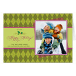 Winter Argyle Happy Holidays Card (lime)