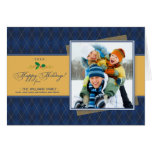 Winter Argyle Happy Holidays Card (navy)