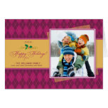 Winter Argyle Happy Holidays Card (pink)