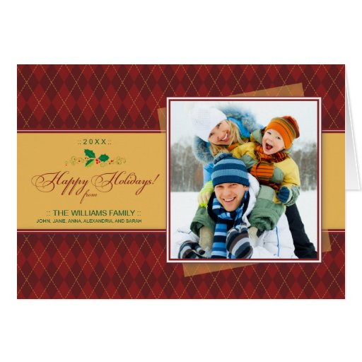 Winter Argyle Happy Holidays Card (red)