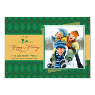Winter Argyle Happy Holidays Flat Card (green) Custom Invite
