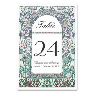 Winter Art Nouveau Wedding Table Numbers Table Card