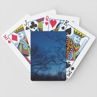 Winter at night trees in sky poker cards