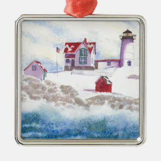 winter at Nubble LIghthouse in Maine Christmas Ornament