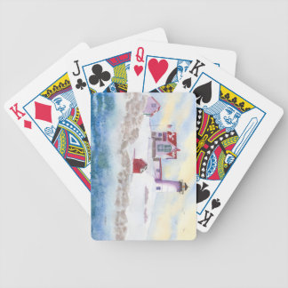 Winter at Nubble LIghthouse in Maine Playing Cards