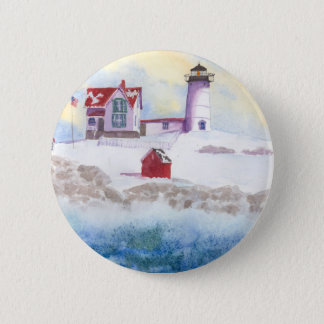 winter at Nubble LIghthouse in Maine Round Sticker 6 Cm Round Badge