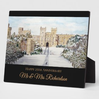 Winter at Windsor Castle Landscape Painting Plaque