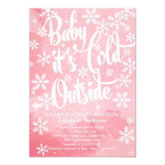 Winter Baby It's Cold Outside Girls Baby Shower 13 Cm X 18 Cm Invitation Card