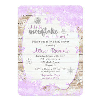winter baby shower invitation purple and silver