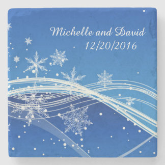 Winter Background Personalized Stone Coaster