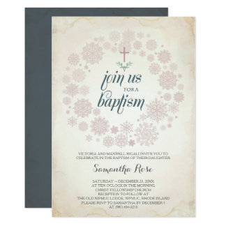 Winter Baptism Invitation Template, Girl