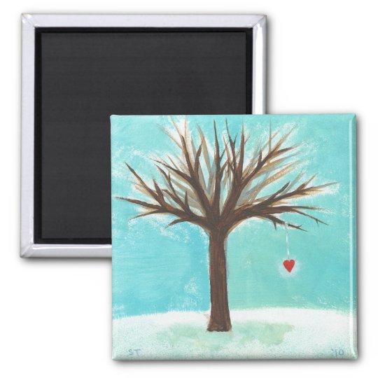Winter bare tree red heart love primitive folk art square magnet