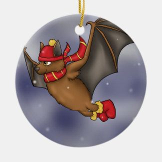 Winter Bat - Red and Yellow Christmas Ornament