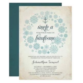 Winter Bautizo Invitation Template, Spanish