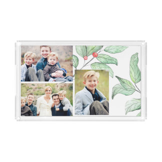 Winter Berries Holiday 3 Photo Collage Acrylic Tray