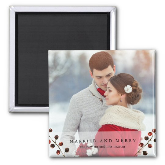 Winter Berries Married and Merry Photo Magnet