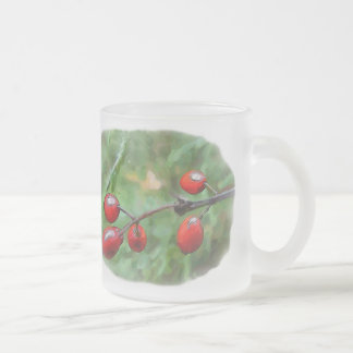 Winter Berries 10 Oz Frosted Glass Coffee Mug