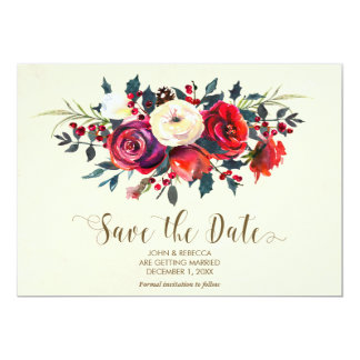 winter berries wedding save the date invitation