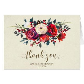 winter berries wedding thank you card christmas