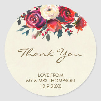 winter berries wedding thank you sticker christmas