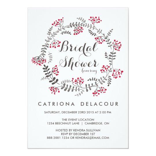Winter Berries Wreath Bridal Shower Invitation