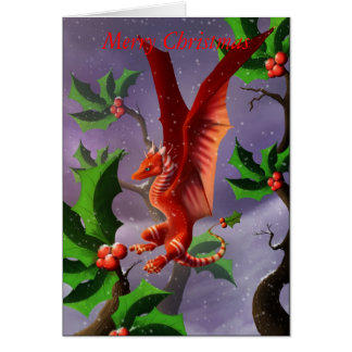 Winter Berry Dragon Card