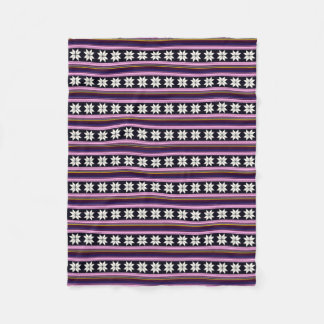 Winter Berry Nordic Knitted Cross Stitch Graphic Fleece Blanket