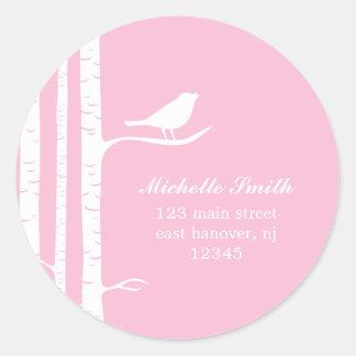 Winter Birch and Bird Classic Round Sticker