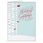 Winter Birch Trees and Birds Season's Greetings Greeting Card