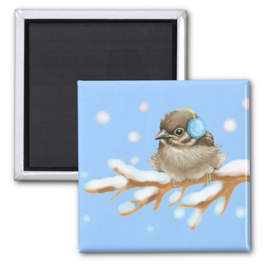 Winter Bird on snow Branch Square Magnet