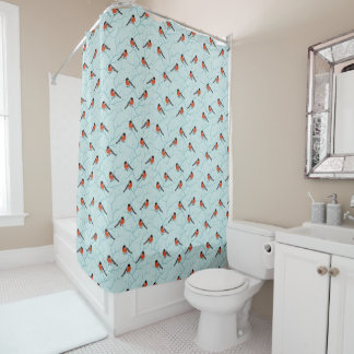 Winter Bird Pattern Shower Curtain